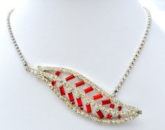 Vintage-Red-and-Clear-Rhinestones-leaf-Necklace-the-jewelry-lady's-store