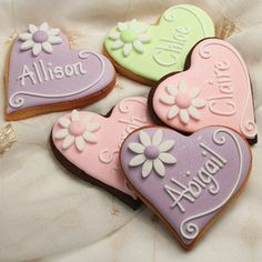 Heart with Flowers Personalised Cookie Favours or Place Names