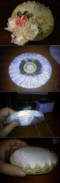 Babička vzala staré CD a prázdny téglik: Keď uvidíte ten perfektný nápad nebudete veriť, že to nenapadlo aj vám! Cd Crafts, Hobbies And Crafts, Sewing Crafts, Diy And Crafts, Ribbon Art, Ribbon Crafts, Recycled Cds, Craft Projects, Sewing Projects