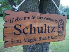 Last Name Family Campsite Sign Custom Made Wooden by TKWoodcrafts