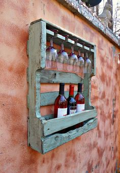 Rustic Wood Wine Rack Distressed Turquoise Pallet Wine