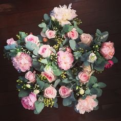 Floral star of peonies, roses & gum - thedailyblossom.com.au