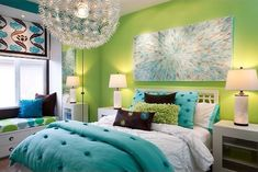 Lime green and turquoise bedroom. Teen girls bedroom ideas! Love this