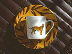 tiger coffee cup and saucer so jungle! (#safari, #out of africa, #jungle) Jungle collection, safari, , Dinnerware, porcelain, Africa, hand made,FRAGILE by Patricia Deroubaix.Limoges France