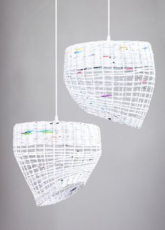 White hanging eco paper lamp Kitchen pendant by BarborkaDesign