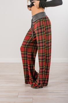 RESTOCKED! RubyClaire Boutique - Ruby Plaid Wide Leg Loungers, $32.00 (https://www.rubyclaireboutique.com/ruby-plaid-wide-leg-loungers/) Lounge Pants | Plaid Lounge Pants | Pajama Pants | Red Pajamas | Valentines Pajamas