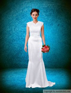 Modest wedding dress with sleeves, modest wedding gown. Custom gown. www.stasiabridal.com MADE IN USA! Can be made in a plus size. #Modestishottest #modestbride #ldsbride #templeready #tziut #tznius #jewishbride #muslimbride