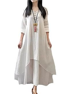 Minibee Women's Cotton Linen Layer Dress with Pockets White Minibee http://www.amazon.com/dp/B014OQT38U/ref=cm_sw_r_pi_dp_1074vb0NXA5X3