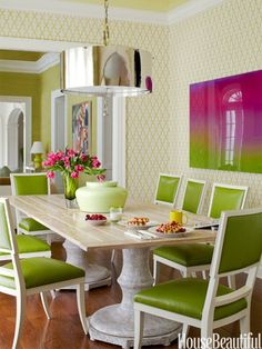Dining Room Ideas lime green upholstery on white frame dining chairs