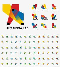 MIT Media Lab Identity by Richard The / 2011 / The logo is based on a visual system, an algorithm that produces a unique logo for each person, for faculty, staff and students. Each person can claim and own an individual shape and can use it on their business card a personal website. / #generative #flexible #processing  #logo jd