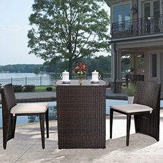 Outdoor Wicker Patio Set cushioned 3 pcs Garden Lawn Sofa Furniture Seat Brown #Unbranded