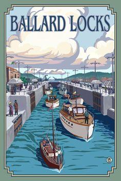 Seattle, Washington - Ballard Locks - Lantern Press Artwork (Art Print Available), Multi Artist Canvas, Canvas Art, Seattle Art, Poster Prints, Art Prints, Colour Images, Travel Posters, Vintage Posters, Vintage Signs