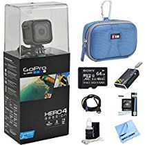 GoPro Session Action Camera All Inclusive Bundle Includes GoPro Camera, microSDHC Memory Card, Deluxe Carrying Case, Hi-Speed Card Reader, Lens Cleaning Kit and Beach Camera Cloth Gopro Shop, Gopro Video, Gopro Accessories, Gopro Hero 4, Gopro Camera, Card Wallet, Card Case, Amazon Price, Cleaning Kit