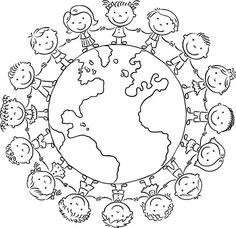 Children round the Globe, black and white outline Kinder rund um den Globus, Kontur - Lizenzfrei 201 Earth Day Coloring Pages, Colouring Pages, Coloring Pages For Kids, Coloring Sheets, Globe Outline, Harmony Day, Cultures Du Monde, Easy Toddler Crafts, Stencil Templates