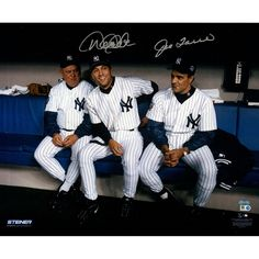 Derek Jeter Don Zimmer Joe Torre Sitting in Dugout 16x20 photo Signed by Torre & Jeter (MLB Auth)