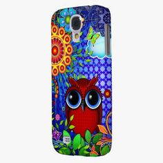 It's cute! This Red Owl and Flowers Art iPhone Skin Samsung Galaxy S4 Cover is completely customizable and ready to be personalized or purchased as is. Click and check it out!