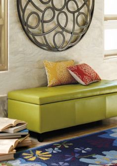 Dylan Textured Leather Storage Ottoman.