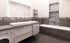 Do koupelny jsme navrhli velkoformátový obklad a dlažbu v rozměrech 600x1200mm doplněný designovou mozaikou. Umyvadla jsou osazena do nábytkové desky, pod kterou jsme umístili pračku a úložné prostory v podobě výsuvů.