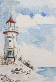 Kunst/gestalten This is an ACEO Giclee Cheboygan crib light. I have water colors, gouache and a litt Watercolor And Ink, Watercolour Painting, Painting & Drawing, Watercolors, Watercolor Ideas, Boat Painting, Watercolor Images, Watercolor Landscape Paintings, Gouache