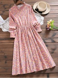 Ruffled Neck Half Button Orange Dress – LEATHER PINK L The clothing culture is very old. Stylish Dresses, Cute Dresses, Casual Dresses, Casual Outfits, Midi Dresses, Flower Dresses, Party Dresses, Orange Outfits, Orange Dress