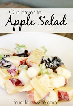 """Homemade Apple Salad Recipe Who knew that a simple mixture of apples, dates, marshmallows, and celery could be so so delicious! I think this is one of those recipes where """"the whole is greater than the sum of it's parts"""" definitely applies!"""