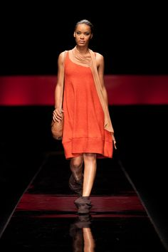 Marleen dress in Burnt orange wool.