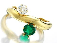 Trendy Diamond Rings : Suzanne Belperron. An Emerald Diamond and Gold Bracelet by Suzanne Belperron