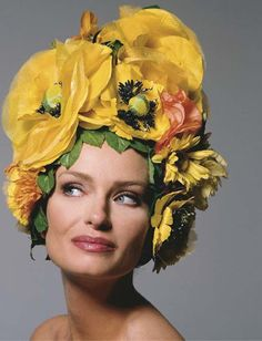 Flower hat by Bob Mackie, Easter 1992. Reminds me of the bathing caps we used to wear!