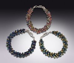 Glass Kumihimo Bracelets--Hand-woven with Japanese glass magatama and seed beads; Argentium Sterling Silver safety clasp