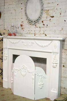 Vintage fireplace screen pink shabby chic bohemian cottage chic