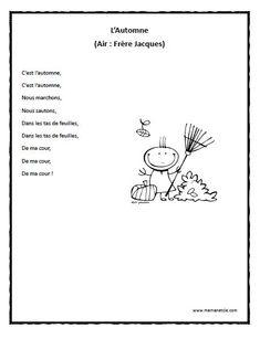 Chansons - Prescolaire - L'Automne - Chanson à imprimer en .pdf Core French, French Class, French Teaching Resources, Teaching French, French Language Lessons, French Lessons, French Poems, Kindergarten Songs, French Education