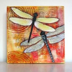Dragonflies. Mixed media collage by Kitty van den Heuvel. www.blogspot.kittysartencrafts.com