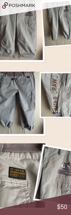 G. Star Raw Cargo Shorts ❌No Offers❌G. Star Raw Cargo Shorts. Rugfed Denim shorts with Cargo pockets. Designed with 2 inner buttons at the front and back maybe for suspenders. Drawstring closure at the hem. Color: Light Army Green. Material: 100% cotton. Size: Medium. Gently worn. Excellent condition. If this condition is not right for you do not purchase. Cheers🍸🍸 G.Star Raw Shorts Cargos