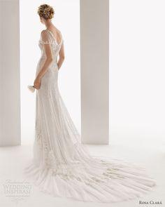 soft by rosa clara wedding dresses 2014 ulises flutter sleeve beaded bridal gown back train