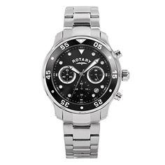 Rotary Men's Quartz Watch with Black Dial Chronograph Display and Silver Stainless Steel Bracelet GB00318/04