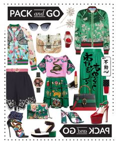 """""""Pack&Go"""" by siler-sasa ❤ liked on Polyvore featuring Gucci, Chloé, Jennifer Behr, Palomitas by Paloma Barceló, Valentino, Dsquared2, Casetify, Olivia Burton, Akribos XXIV and tokyo"""