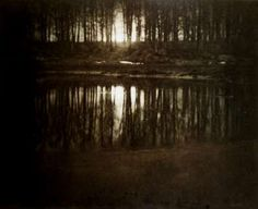 """""""Someone I loved once gave me a box full of darkness. It took me years to understand that this too, was a gift""""-- Mary Oliver [Moonrise, Mamaronek, New York, 1904 - Edward Steichen]"""