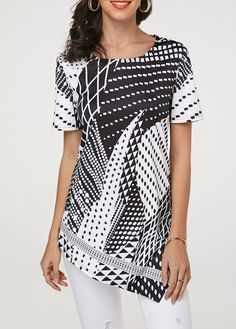 ef51e925 Round Neck Asymmetri Trendy Tops For Women, Blouses For Women, Printed  Blouse, Printed