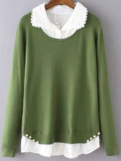 Green Lapel Buttons Embroidered Blouse Knitwear