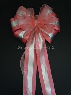 Coral Wedding Pew Bow Coral Silver Church Pew Decorations by SimplyAdornmentsss