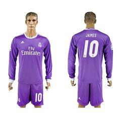 Real Madrid 16-17 James Rodriguez 10 Udebane Trøje Langærmet.  http://www.fodboldsports.com/real-madrid-16-17-james-rodriguez-10-udebane-troje-langermet.  #fodboldtrøjer