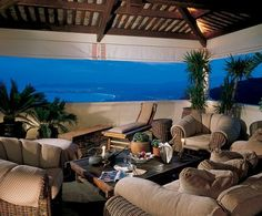 A spacious covered terrace off the master bedroom serves as an outdoor living room. - Tina Turner's Modern Mediterranean-Style Villa in the South of France Photos Inside Celebrity Homes, Celebrity Houses, Celebrity Stars, Outdoor Spaces, Outdoor Living, Outdoor Decor, Porches, World Decor, Rich Home