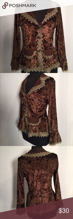 """Romantic & stunning blazer Romance & confront in a classic jacket  Ladies medium  Brown velvet & stunning tan lace detail with gorgeous Brown pearls on lace detail   Armpit to armpit 18"""" - 27"""" around  Shoulder to hem is 21"""" 55% Silk & 45% polyester  EUC Non smoking environment  No stains, snags or damage  Paid $198.00 Thanks for Looking , Molly M 1265 / W.1 Pretty Angels Jackets & Coats Blazers"""