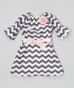 Look at this Gray Chevron Bell-Sleeve Dress - Toddler & Girls on #zulily today!