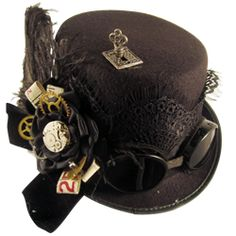 Black Geared Steampunk Riding Hat With Goggles (the goggles would need to be tweaked a little bit to look less like diving goggles though)