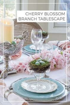Cherry Blossom Tablescape | Need ideas for a spring table setting? Find inspiration from this cherry blossom branch tablescape with family heirlooms and pretty pink blossoms. -----> #cherryblossoms #cherryblossombranch #springtablescape #springtablesetting #tablesettingideas #cherryblossomtablescape French Table Setting, Country Table Settings, Elegant Table Settings, Easter Table Settings, Cherry Blossom Theme, Pink Blossom, French Country Christmas, Table Setting Inspiration, Spring Home Decor