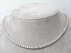 9.00CT IJ - SI1 Diamond 14k White Gold String Necklace
