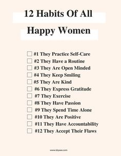 12 Habits of All Hap