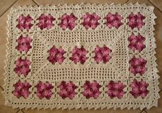 Tapete de crochê Flor Rose | Atelier MimiKira | Elo7