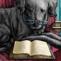 Black Labrador Retriever Art Print of Lab by MaddieLabStudio. I've said many times that Pluto is smart enough to learn to read, so I bought this as inspiration for him.